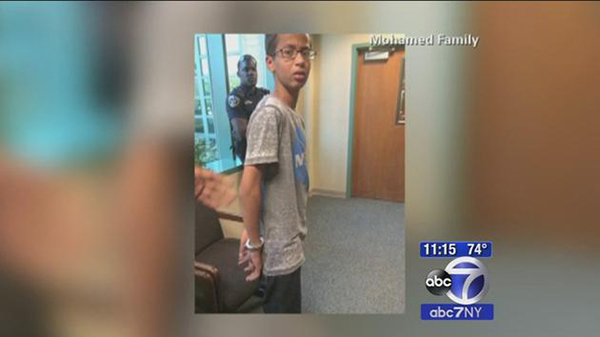 screen shot of abc 7 news reporting ahmed mohamed arrest at school
