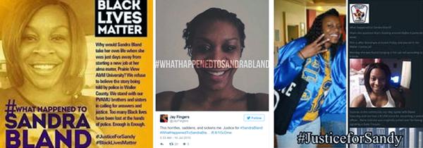 social media posts justice for Sandra Bland black lives matter