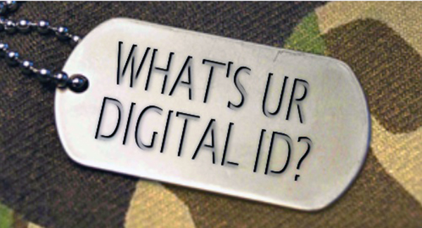 dog tag saying whats ur digital ID? camouflage background