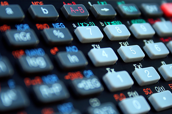 close up of calculator keys