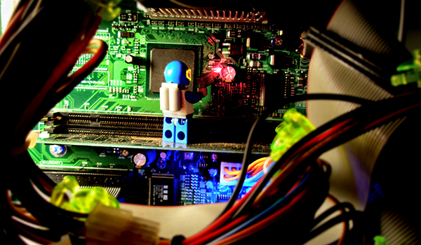 Lego mechanic working on a microchip