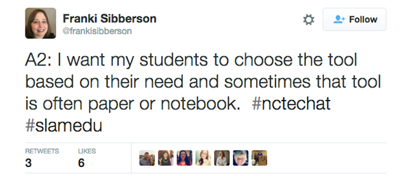Franki Sibberson tweet about students learning styles