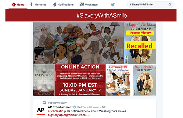 screenshot of Tweet about controversial book on slavery being recalled by Scholastic