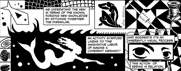 illustration by Nick Sousanis of mermaid and sewing needle