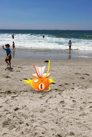 Pokemon Go fish at the beach