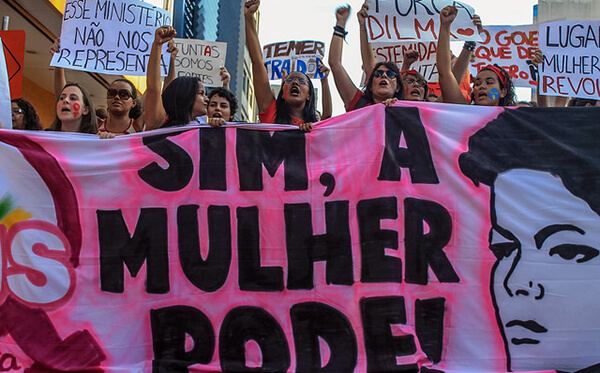 Women protesting in Brazil