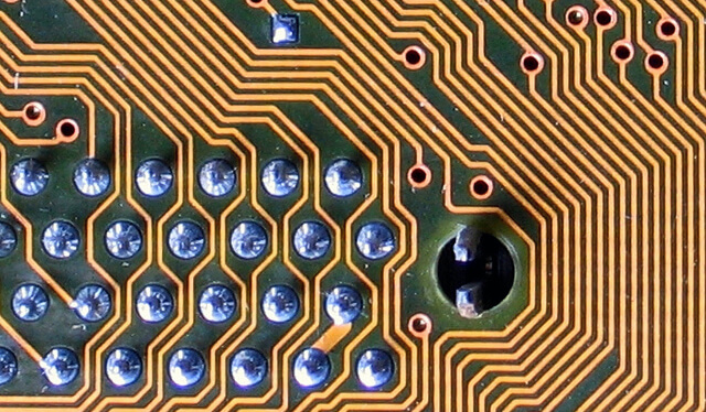 close up of computer chip