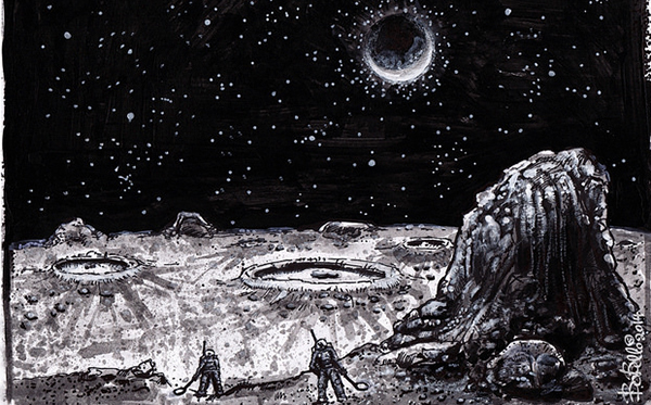 drawing of people on the moon