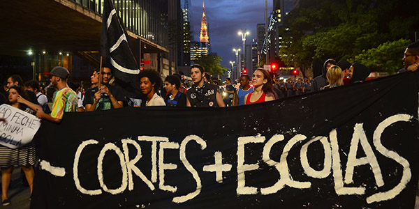 students protest in Brazil