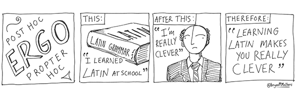 comic strip of person learning Latin grammar