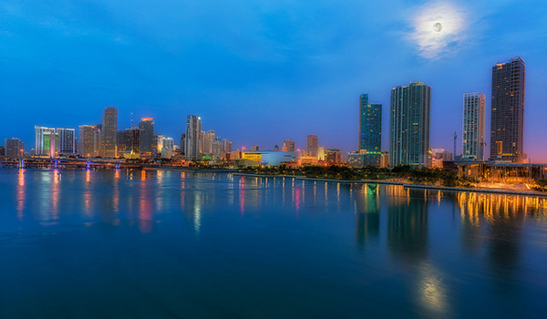 Miami coastline at night