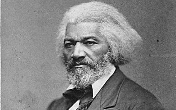 Grayscale Frederick Douglass headshot