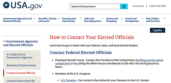 screenshot of usa.gov website