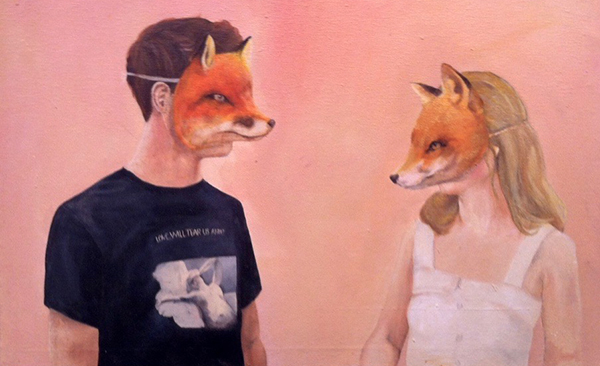 two people in fox masks facing each other drawing