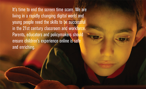 screen time infographic with picture of child looking at screen