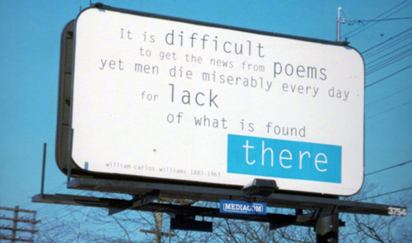 poem by William Carlos Williams on billboard