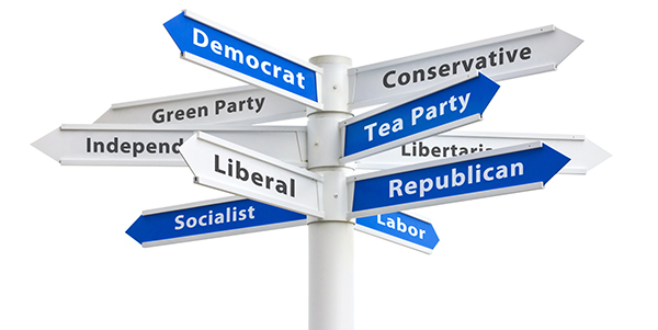 Political Parties Crossroads Signs pointing in different directions