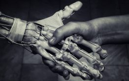 AI and human hands