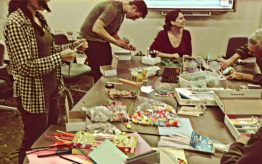 People making crafts at table
