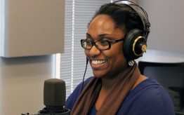 "Marcia Chatelain in studio on public radio program ""St. Louis on the Air."""