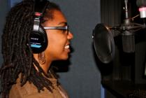 Asha Richardson at recording studio