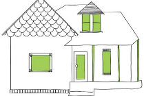 house drawing with green door and windows