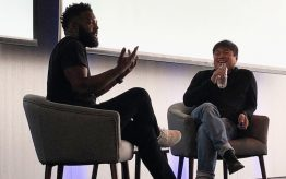 Baratunde Thurston and Joi Ito during their keynote at the 2018 Connected Learning Summit