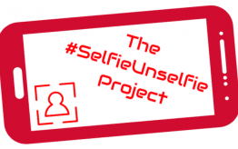 "SelfieUnselfie Project graphic of smartphone outline with ""The #SelfieUnselfie Project"" written insite"