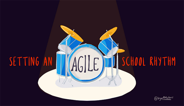graphic of drum set setting an Agile school rhythm