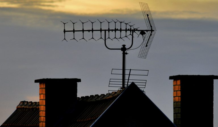 large house rooftop antenna