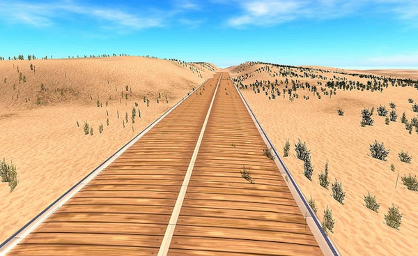 animated image of railroad tracks in the desert