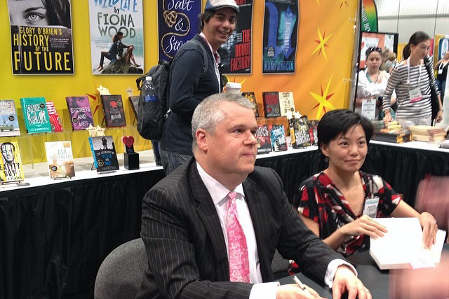 2 authors at book signing antero and lemony snicket