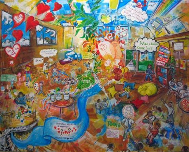 art classroom mural illustration