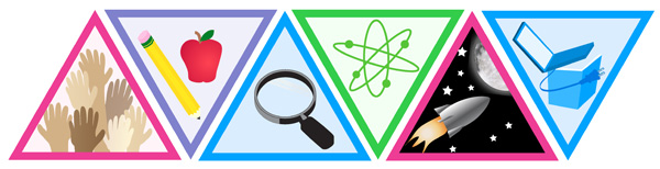 5 badges illustration triangles representing hands school magnifying glass space computers