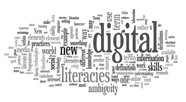 graphic of many words describing Digital information