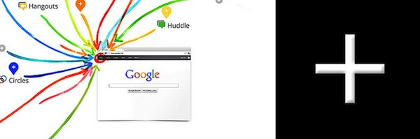 screenshot of Google homepage with arrows pointing to the + sign to add new pages