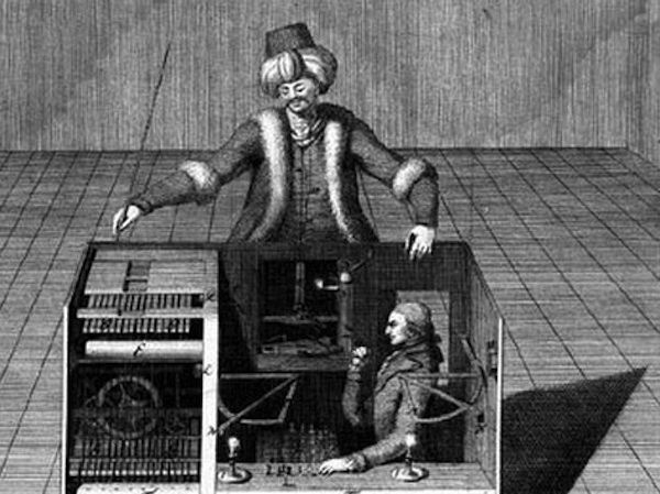 vintage drawing of man in headdress building a political set