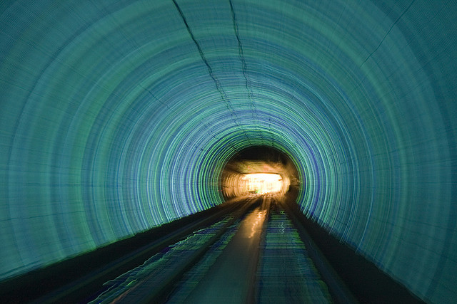 light at the end of beautiful blue tunnel