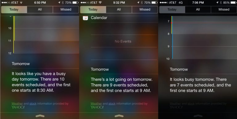 3 screenshots of busy iphone calendar agendas