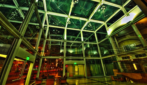 large data center lobby hall green and red light