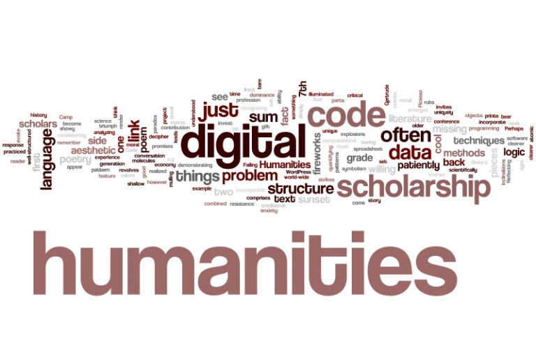 digital humanities graphic with words that represent humanities