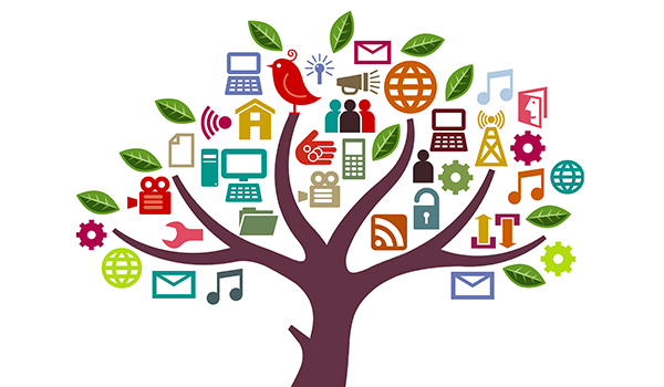 graphic of tree with leaves and branches that represent digital tools