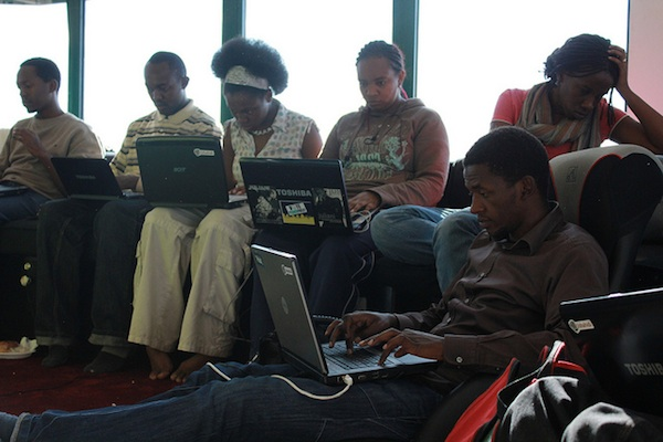 group of students working on their laptops individually