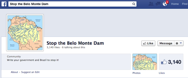screenshot of stop the belo monte dam facebook page