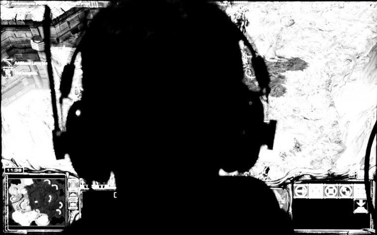 shadow outline of gamer with head phones on