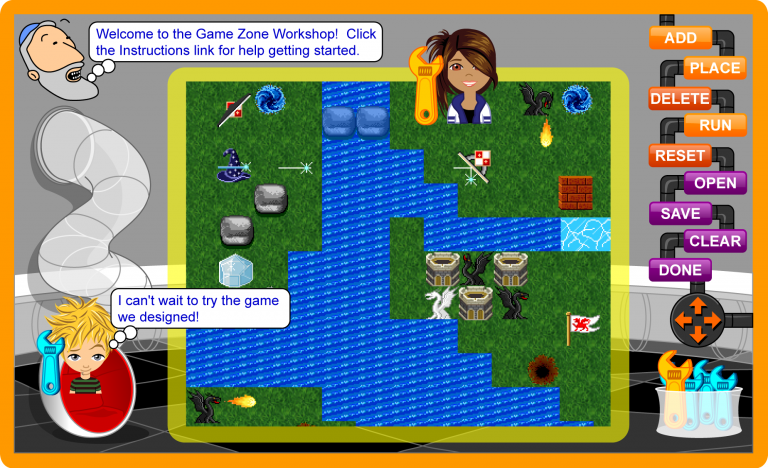 screenshot of gamezone game workshop and characters designing game