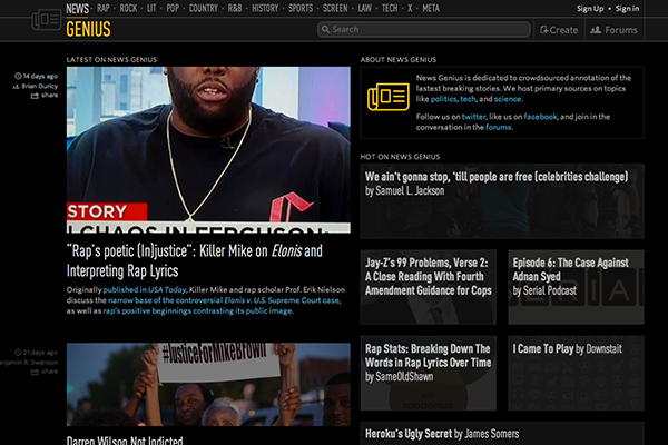 Genius website screen shot killer mike article and other rappers on rap poetry injustice