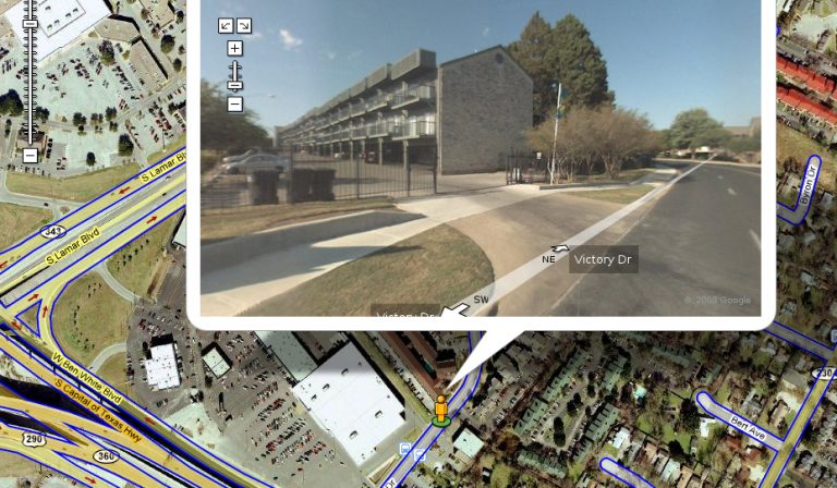 screenshot of google maps satellite view street view of neighborhood