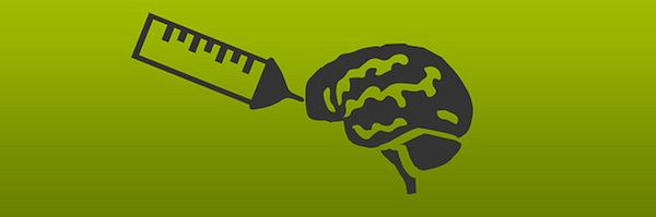 green graphic of shot injecting brain representing hacking higher education