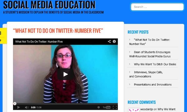 webpage screenshot social media education videos and posts